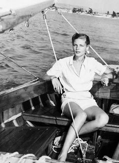 """toryburch: """" B is for Bacall Break Actress Lauren Bacall takes a break and sets sail in 1945. Photograph by Getty Images """""""