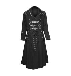 Black gothic men's coat with rivets, by SDL clothing