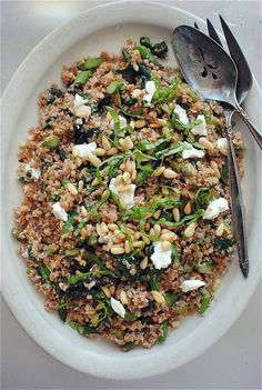 Bulgur with Spinach, Pine Nuts, Asparagus and LOTS of lemon! Serve with chicken?