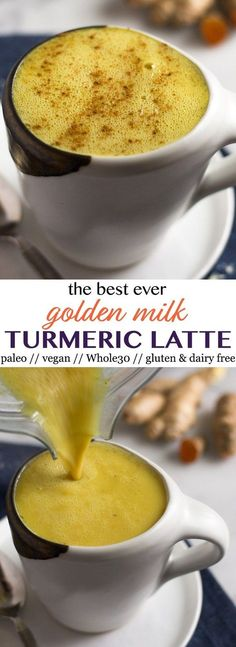 Seriously the best ever golden milk turmeric latte!! It's rich, creamy, and smooth made from fresh turmeric and ginger, cashew butter, cinnamon, cayenne, and collagen for an extra protein boost. Only 5 minutes to make you feel on top of the world. Vegan, paleo, and Whole30 approved too - Eat the Gains #turmeric #vegan #whole30 #goldenmilk #paleo