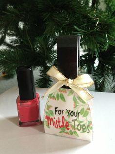 Mistle Toes - Easy cheap KK/Secret Santa gift for little girls and big girls.    Download from: http://www.etsy.com/listing/172782980/for-your-mistletoes-nail-polish-gift