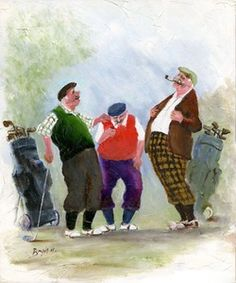Image of 'A Golfing Tale' Giclee Canvas  by Des Brophy