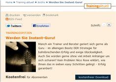 Training Aktuell: Werden Sie Instant Guru http://www.managerseminare.de/ta_Artikel/Trainingsspitzen-Werden-Sie-Instant-Guru,218482