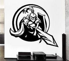 Cheap decal set, Buy Quality decal paper directly from China decals emblems Suppliers: Wall Decal Knight Sword Shield Armor Medieval Weapons Vinyl Decal Vinyl Wall Stickers, Wall Decals, Shield Drawing, American Wings, Knight Sword, Stencils, Medieval Weapons, Desenho Tattoo, Custom Wall
