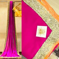 Pink georgette saree with gold sequin and mango silk border To purchase mail us at houseof2@live.com  or whatsapp us on +919833411702 for further detail #sari #saree #sarees #sareeday #sareelove #sequin #silver #traditional #ThePhotoDiary #traditionalwear #india #indian #instagood #indianwear #indooutfits #lacenet #fashion #fashion #fashionblogger #print #houseof2 #mango #pink #georgette