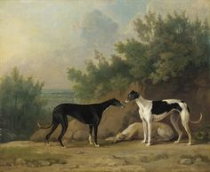 SAWREY GILPIN, R.A. (BRITISH, 1733-1807)  THREE GREYHOUNDS IN AN EXTENSIVE LANDSCAPE (1783)