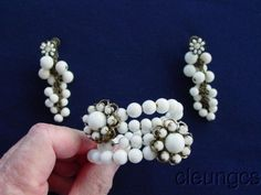 Vintage Signed Miriam Haskell Milk Glass Bead Wire Bracelet, Dangle Earrings Set #MiriamHaskell