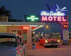 1958 Edsel under the 1958-built neon sign at the Blue Swallow Motel in Tucumcari, New Mexico