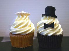 Bride & Groom Cupcake toppers, the bride even has a sweet little veil!