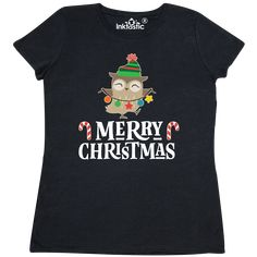 Merry Christmas Owl Holiday Women's T-Shirt - Black Christmas Owls, Christmas Gifts For Friends, Merry Christmas, Shirt Outfit, T Shirts For Women, Holiday, Kids, Clothes, Black