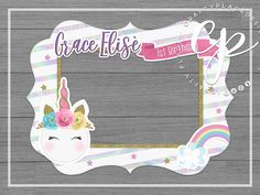 Items similar to Unicorn photo booth frame Happy Birthday Banner Printable, Happy Birthday Banners, Birthday Photo Booths, Birthday Photos, Photo Booth Frame, Photo Booth Props, Unicorn Birthday Parties, Birthday Party Decorations, Unicorn Photos