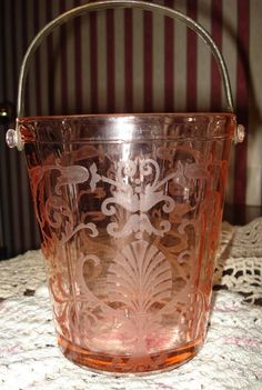 Pink Etched Fostoria Versailles Depression Glass by IsadoraDuncans, $175.00