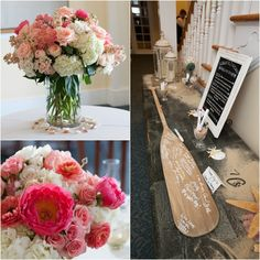 Keeping with the nautical theme, an authentic oar was signed by the guests as a keepsake for the newlyweds. Medium lush centerpieces, votive candles and seashells adorned the reception space and guest tables.