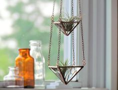 Air Plant Holder Mini 3 Tiered Faceted Stained Glass Hanging Terrarium Clear Copper by SNLCreations on Etsy