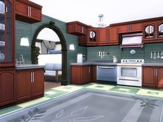 Newcrest Suburban is a lovely family home built on lot in Newcrest. Found in TSR Category 'Sims 4 Residential Lots' Sims 4 House Plans, Sims 4 House Building, Sims Love, Sims 3, Sims 4 Kitchen, Sims 4 House Design, Casas The Sims 4, Sims 4 Build, Sims 4 Custom Content