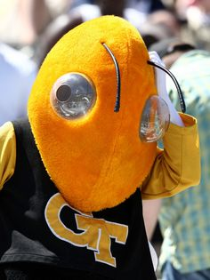 Buzz Photos - Buzz, the Georgia Tech mascot, scratches his head while watching the Georgia Tech T-Day Spring football game on April 2008 at Historic Grant Field at Bobby Dodd Stadium in Atlanta, Georgia. Bobby Dodd, Georgia Tech Football, Spring Football, Yellow Jackets, Atlanta, Fan 2, Engineer, Image, Art