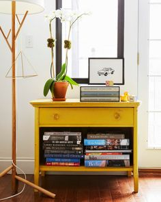 Bright painted console | Our Brooklyn Apartment | A Cup of Jo