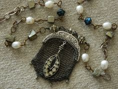 """SALE Chatelaine Chain Maille Coin Purse Assemblage Necklace - use coupon code """"summer10"""" at checkout for 10% off"""