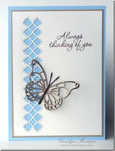 handmade card ... clean and simple ... Tessatina border die for negative cut ... gray die cut butterfly ...