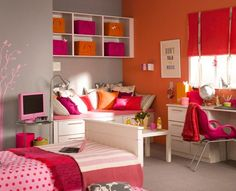 DIY Home Decor Ideas - Vibrant Girls Bedroom - Click Pic for 47 Decor Ideas for Girls Rooms