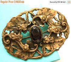 Big Holiday Sale Art Nouveau Brass Tone Sash by Vintageimagine