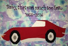 """Fandom In Stitches: Prince: 1958 - 2016 Little Red  Corvette by Daphne Seymour  inspired by Chevy's Prince Tribute 12"""" by 18"""" Paper Pieced and Embroidered  #PrinceTribute Free from fandominstitches.com Free for personal and non-profit use only"""