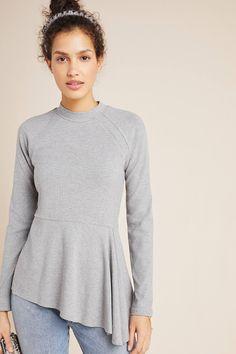 Striped Deep V-Neck Longline Short Sleeve Stretch Tunic Length Tee T-Shirt Top
