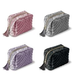 Lady Jayne's Crushed Velvet Cosmetic Bag - diamond quilted with a faux leather tassle and a printed interior lining. Colors: Blush, Dusty Lavender, Gray or Black Diamond Quilt, Crushed Velvet, Cosmetic Bag, Lavender, Blush, Cosmetics, Gray, Printed, Colors