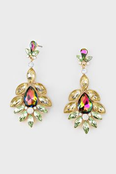 Crystal Madeline Earrings in Vitrail   Women's Clothes, Casual Dresses, Fashion Earrings & Accessories   Emma Stine Limited
