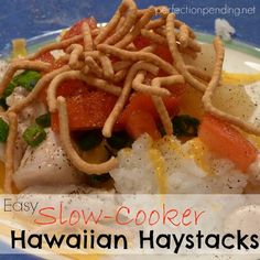 EASY Slow-Cooker Hawaiian Haystacks. Kids love to build things, so this recipe is a hit as kids get to create their own meal!! #recipes #kidapproved