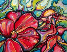 Red Blossom by Colleen Wilcox Art. (Acrylic on Canvas) #Painting
