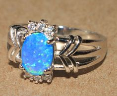 blue fire opal Cz ring Gemstone silver jewelry Sz 8 modern chic cocktail style W #Cocktail