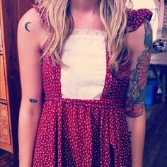 cute sleeve/tattoos and a delicate vintage dress