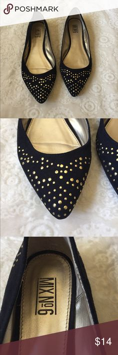 Black suede gold Studded pointed flats These are in perfect condition!  I only wore them once before deciding they were a bit to small for me.  There is one small flaw in the fabric that must have been there when I bought them and didn't notice.  It is in the outside of the left shoe and is only noticeable in the right light. Pet friendly home. mix no6 Shoes Flats & Loafers