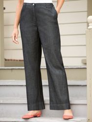 Wide-leg Denim Trousers.  Ulla Popken.  $64.00