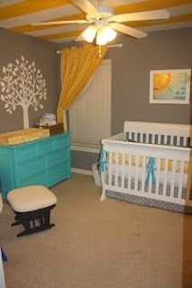 yellow grey and turquoise neutral   nursery... This but with orange or green for a boys nursery =D