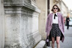 84 Outfit Ideas For Style Extroverts #refinery29  http://www.refinery29.com/2015/03/83675/paris-fashion-week-2015-street-style#slide-17  Always go for a black ribbon, as seen on Ella Catliff.Kate Spade sunglasses.