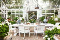 Living in Style: A Dreamy Greenwich Conservatory. We're taking a cue from the dreamy conservatories you'll find on Connecticut estates, awash in sunlight and filled to the brim with flowers, lush greenery, and of course, elegant decor. Whether or not you have a dedicated garden room, there's plenty of inspiration to be had in this collection of classic planters, outdoor seating, and stately garden accents.