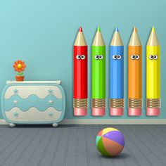 Wall decals pencils  A074 - Stickers crayons A074