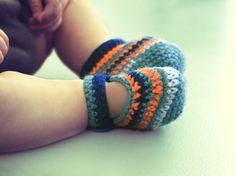 Crocheted striped slippers newborn baby boy / girl. €18,95, via Etsy.