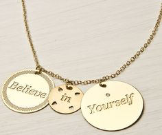 Believe in yourself necklace  gold necklace  by LoveNaomiStudio, $55.00
