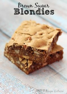 Check out these Delicious Brown Sugar Blondies filled with chopped pecans. This dessert recipe is great to make when having family and friends over.