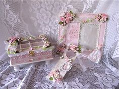 Shabby Chic Set jewelry box, altered frame and door knob hanger by ; Martica Designs