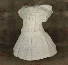Antique Factory Made French White Pique Pinafore Dress for JUMEAU, BRU...circa 1890's