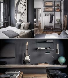 bedroom details / dramatic corner - love the textures and colors