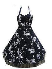 Black & White Floral Halter Dress 40's 50's Pinup Retro Vintage Style Swing 0211