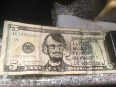 Customer handed me Hipster Abe Lincoln - Imgur