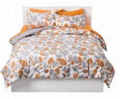 Amazon.com - Room Essentials Orange & Gray Leaves 3 Pc Duvet Cover Set Full Queen Size Bed -