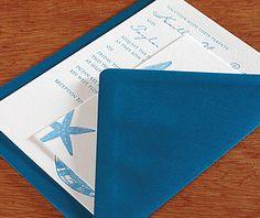 Tropical light blue letterpress wedding invitation set with a matching blue envelope.  | Invitations by Ajalon | invitationsbyajalon.com