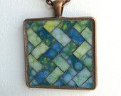 Square Mosaic Pendant with Chain